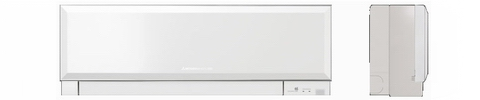 Кондиционеры Mitsubishi Electric, Япония. Кондиционер серии Design Inverter MSZ-EF25VEB/MUZ-EF25VE. Вид спереди и слева.
